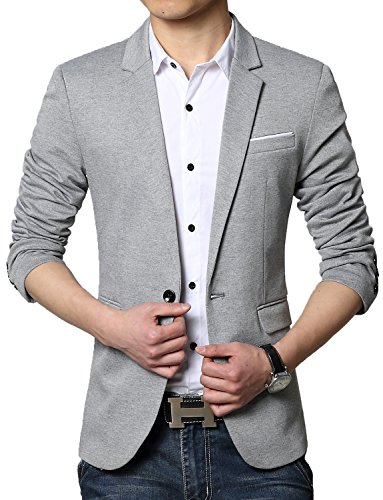 DAVID.ANN Men's Casual Slim Fit One Button Center Vent Blazer Jacket,Grey #3625,Medium