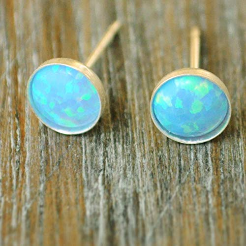 Blue Opal Stud Earrings 6mm Sterling Silver Opal Post ()