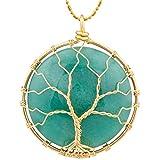 SUNYIK Round Green Aventurine Tree of Life Pendant Necklaces for Women Handmade Reiki Healing Crystal