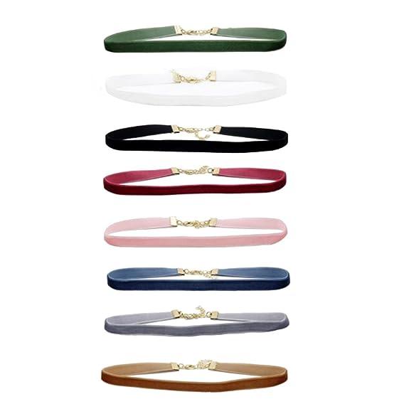 Happy Hours - 8 Different Color Velvet Necklace Set / Fashion Women Pendant Leather Choker Necklace