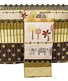 Cotton Tale Designs Elephant Brigade 8-Piece Crib Bedding Set, Brown/Green/Gray