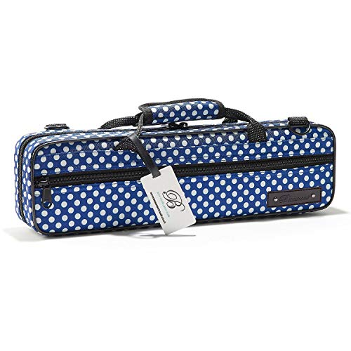 - Flute Case - Beaumont C-Foot Flute Cover - Lightweight Canvas - Blue Polka Dot Design