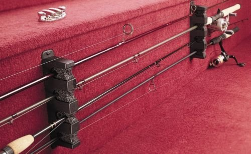 Horizontal Boat Wall Hung 4 Fishing Pole Rod Rack Storage Holder Organizer, NEW ()