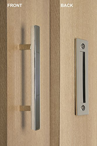 Contemporary Flush Pull - STRONGAR Modern and Contemporary Square Pull and Flush Door Handle Set/Commercial/Residential Grade Stainless Steel/Polished Chrome Finish