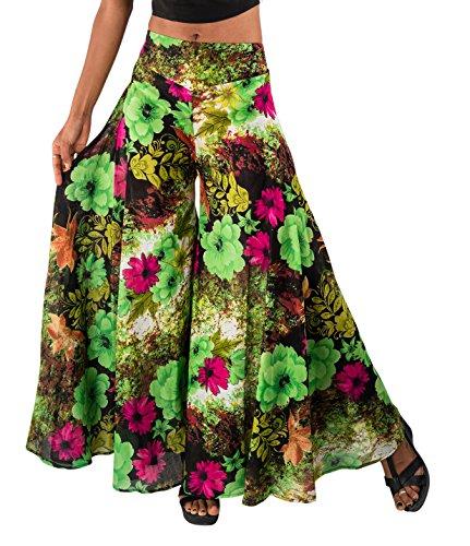 Wide Leg Palazzo Pants - Tropic Bliss Women's Wide-Leg Cotton Palazzo Pants Floral Green, M