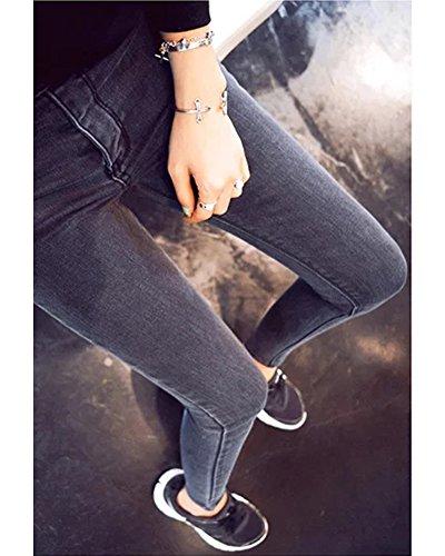 Dril Minetom Up Push Alta Cintura Elástico Primavera Largos Pantalones Mujer Jeans Gris Skinny UqrXUvzw
