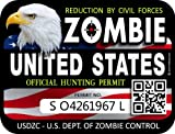 "ProSticker 1203 (Two Pack) 3""x 4"" Zombie Series United States Hunting License Permit Decal Sticker"