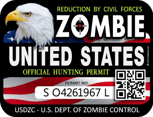 "ProSticker 1203 (TWO pack) 3""x 4"" Zombie Series ""United States"" Hunting License Permit Decal Sticker"