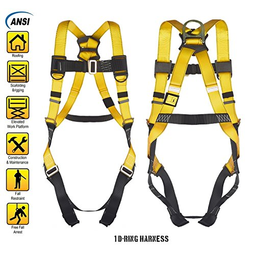 1 D-Ring Industrial Fall Protection Safety Harness ANSI Certified Full Body Personal Protection Equipment 5-Point Adjustment Universal 310 (Full Body Harness)
