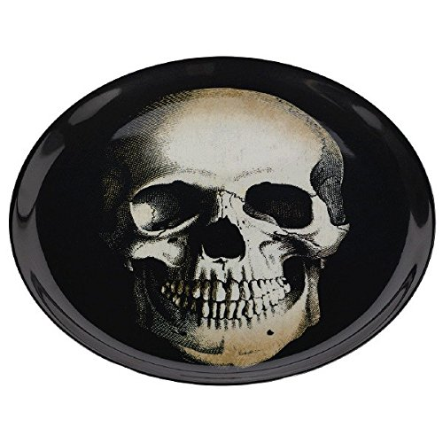 Eerie Boneyard Halloween Party Skull Printed Round Tray Tableware, Melamine, 13