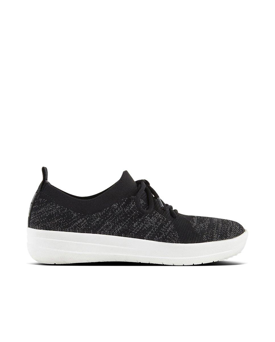 FitFlop Womens F-Sporty Uberknit Black Sneaker - 7