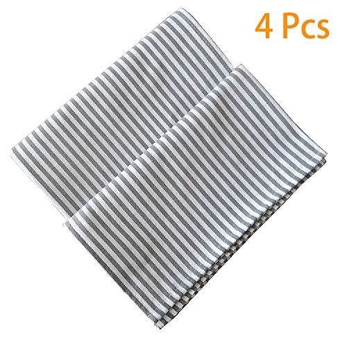 Zrreyior Linen Napkins Cotton Striped Napkins(Set of 4) Soft Absorbent Grey Dinner Napkins,16
