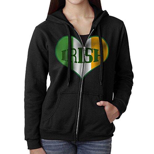 Ireland Flag Sweatshirt (TT&Hoodie Irish Ireland Flag Heart Womens Zipper Sweatshirt Fleece Hoodie With Pockets)