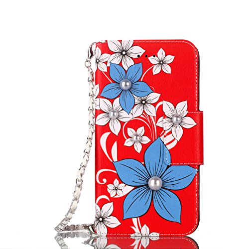 Galaxy S9 Plus Case - Techcircle Cute Floral PU Leather Magnetic Flip Wallet Case with Kickstand Credit Card Holder ID Slot and Hand Chain Shockproof Cover for Samsung Galaxy S9 Plus, Poinsettia