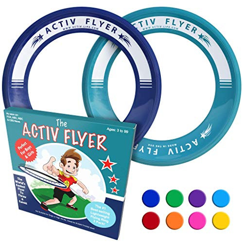 Activ Life Best Kids Frisbee Rings [Navy/Teal] 2 Pack - Best for Grandson & Granddaughter Toys Young Niece Teen Nephew Gifts or Holiday Presents - Top Xmas 2018 and Fun Ideas for Child of Any Age