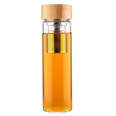 Life4u Teteras de émbolo de té tetera Infusor de Frutas Botella de Cristal Con Filtro Colado 500ml