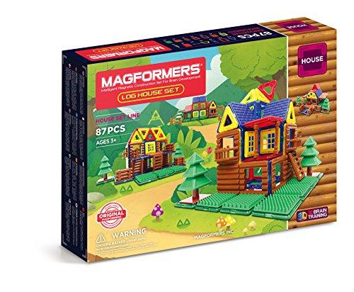 MAGFORMERS Log Cabin 87 Piece Building Set, Multicolor