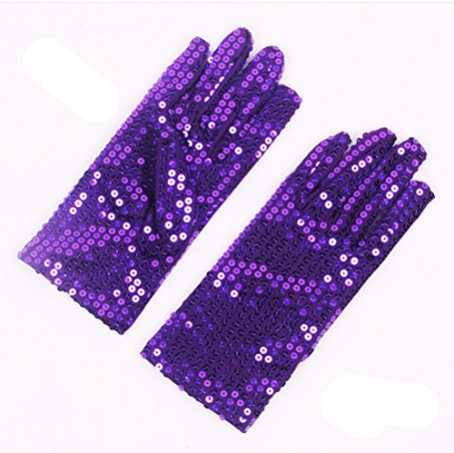 [FinalZ 1 Pair Child Costume Dress up Dance Sequin Cosplay Party Halloween Gloves(Purple)] (Michael Jackson Black Or White Costume)