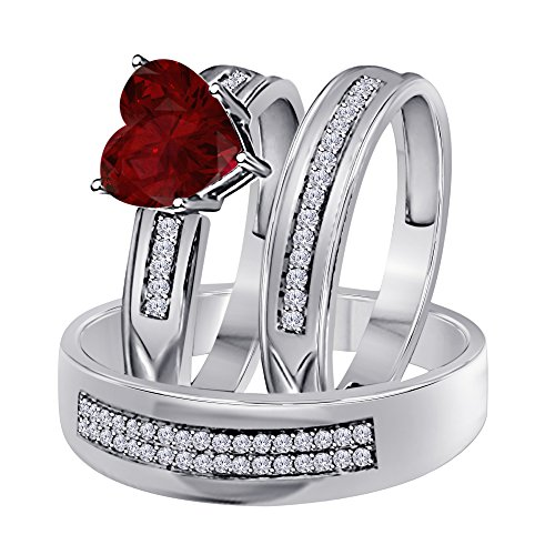 (1.00 Ct Synthetic Red Ruby Heart Shape & Round CZ Diamond 14k White Gold Over Engagement His & Her Wedding Engagement Trio Ring Set In .925 Sterling Silver)