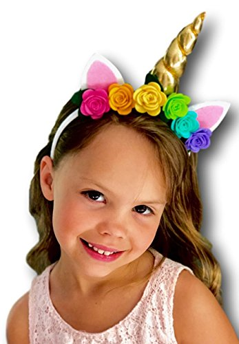 [Unicorn Headband Cosplay Costume with Felt Rainbow Flowers for Kids and Adults] (Flower Headband Costumes)