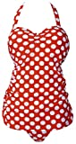 QZUnique Retro Ruched Print Halter Polka One Piece Swimsuit Pin up Monokinis Red Dots US 14-16