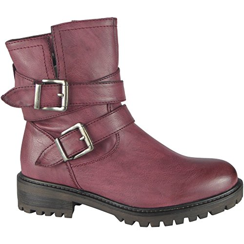 Loud Look Ladies Buckle Strap Zip Low Heel Army Work Biker Ankle Boots Size 3-8 Wine jiDWwXlf54