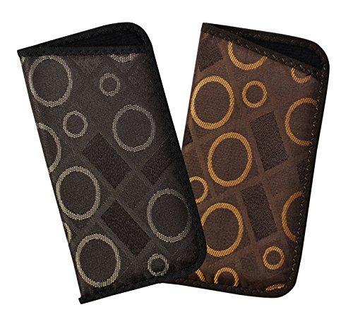 2 Pack Soft Eyeglass Case For Men And Women, Slim Slip In Glasses Holder, Geometric Circles and Squares, Black/Gray & - Glasses Circle Square