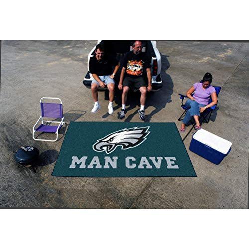 5'x8' NFL Eagles Mat Sports Football Area Rug Team Logo Printed Large Mat Floor Carpet Bedroom Living Room Tailgate Man Cave Home Decor Athletic Game Fans Gift Non-Skid Backing Soft Nylon, Blue ()