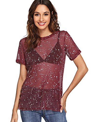 WDIRARA Women's Glitter Sheer See Through Short Sleeve Mesh Top Tee Blouse Burgundy M