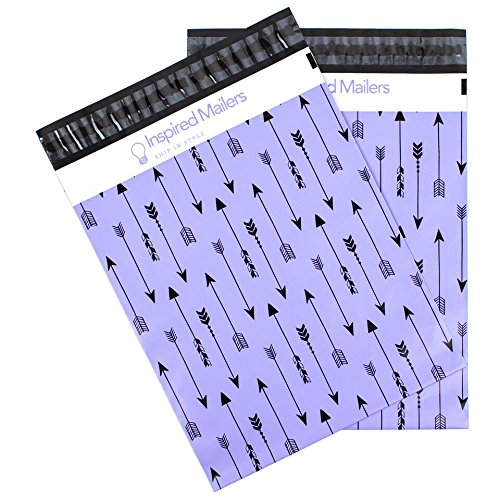 Inspired Mailers Poly Mailers 10x13 Tribal Arrows – Pack of 100 – Unpadded Shipping Bags (Purple/Black)