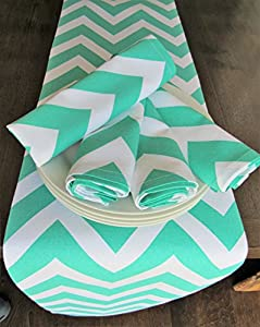 Chevron Patterned 4 Napkin Set (Turquoise Napkins ONLY)