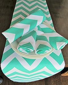 Chevron Patterned 4 Napkin Set (Turquoise Napkins ONLY)
