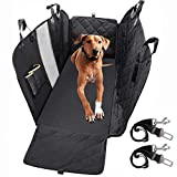 PEDY Dog Seat Cover with Hammock, 100% Waterproof Back Seat Cover Nonslip 600D Heavy Duty Pet Car Seat Cover with Mesh Window, Storage Pockets for Cars, Trucks and SUVs