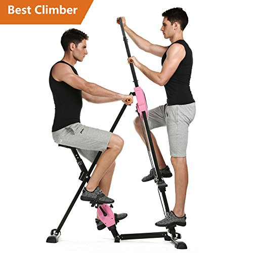 Cheap Tomasar Vertical Climber Machine Folding Stepper Exercise Machine for Home Gym Fitness Workout – 2 In 1 Climber and Exercise Bike – Adjustable Height [US STOCK] (2 In 1 Climber-Pink)