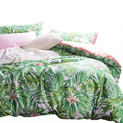 Wake In Cloud - Botanical Duvet Cover Set, Sateen Cotton Bedding, Tropical Green Plant Tree Leaves Pattern Printed, Pink on Reverse, Zipper Closure (3pcs, Queen Size)