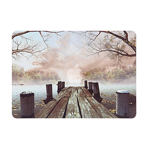 "iDonzon Fall Wooden Dock MacBook Pro 13 inch Case 2012-2015 Release, Soft-Touch Matte Plastic Hard Protective Case Cover for MacBook Pro 13"" with Retina Display (A1502/A1425, NO CD-ROM Drive)"