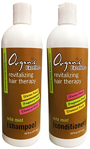 Organic Excellence Wild Mint Shampoo and Conditioner Set Revitalizing Hair Therapy