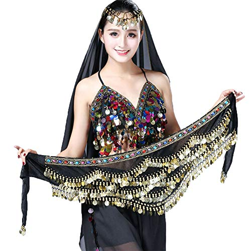 Women's Triangular Belly Dancing Hip Scarf,Gold Coins