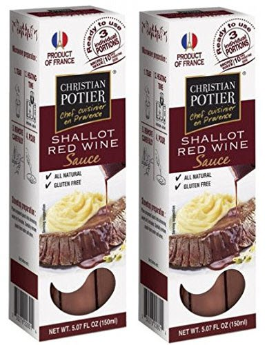 Red Wine and Shallot Gourmet Sauce By Christian Potier (3 Packets 5.07 Oz) - (Pack of 2) (Wine For Steak Dinner)