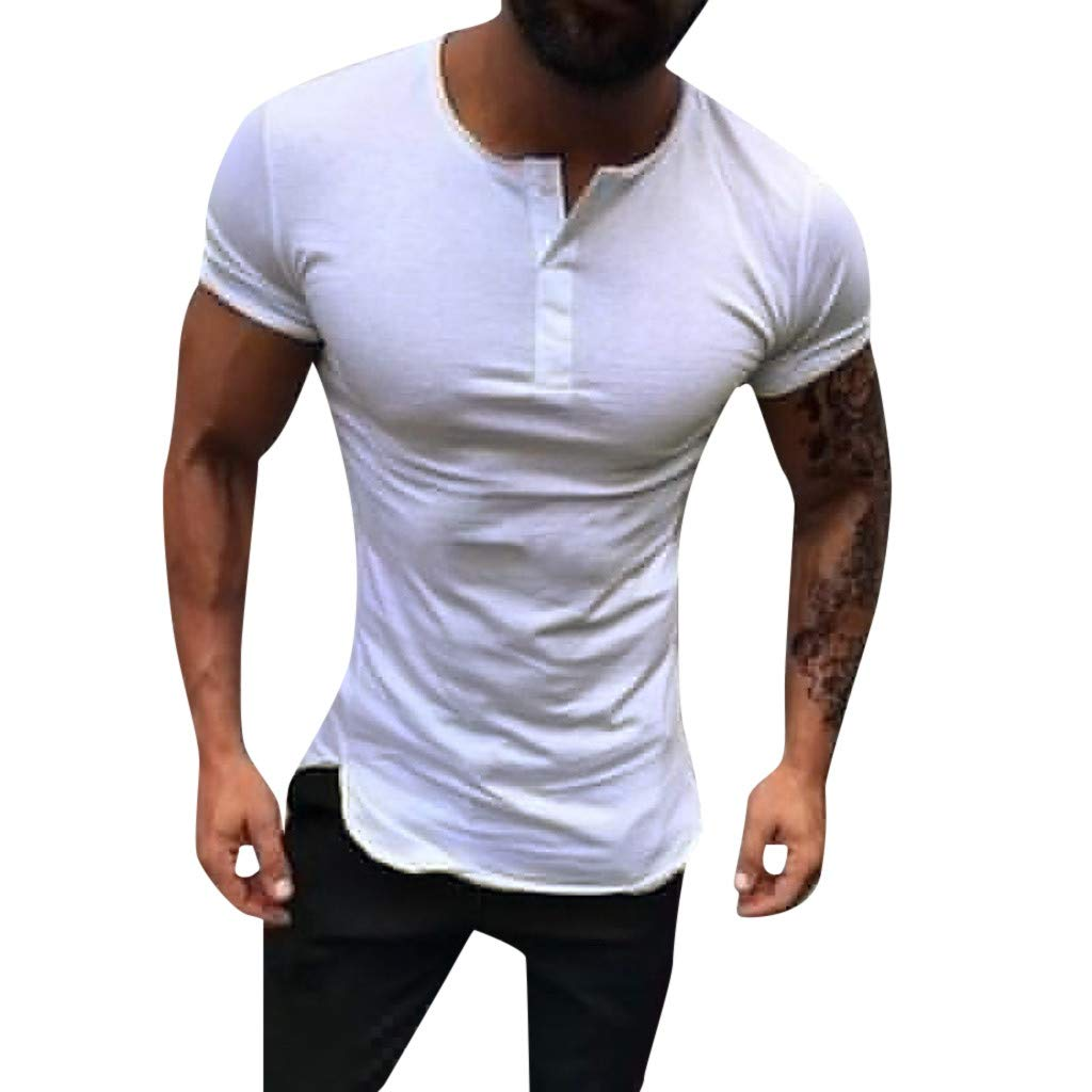 YOMXL Men's Basic Sports T-Shirts Causal Short Sleeve Quick-Dry Polo Shirts Cotton Tee Half Button Tops White by YOMXL