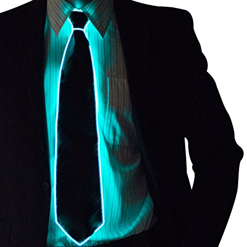 Neon Nightlife Light Up Neck Tie for Men, (Electric Blue Long Tie)
