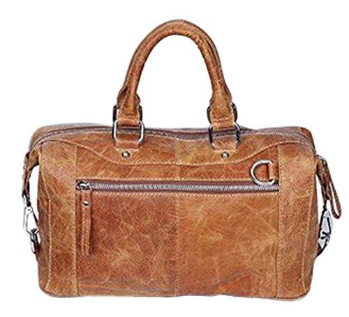 Crossbody Bags For Womens Duffle Boston Handbags Leather Shoulder Satchel Zipper Bag Light Brown