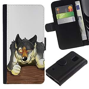 KingStore / Leather Etui en cuir / Samsung Galaxy S5 V SM-G900 / Lobo Bar Lucha Dibujo Bosque Perro Animal