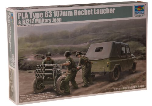 Trumpeter 1/35 PLA Type 63 107mm Rocket Launcher and BJ212 Military Jeep Model Kit - Launcher Military Type