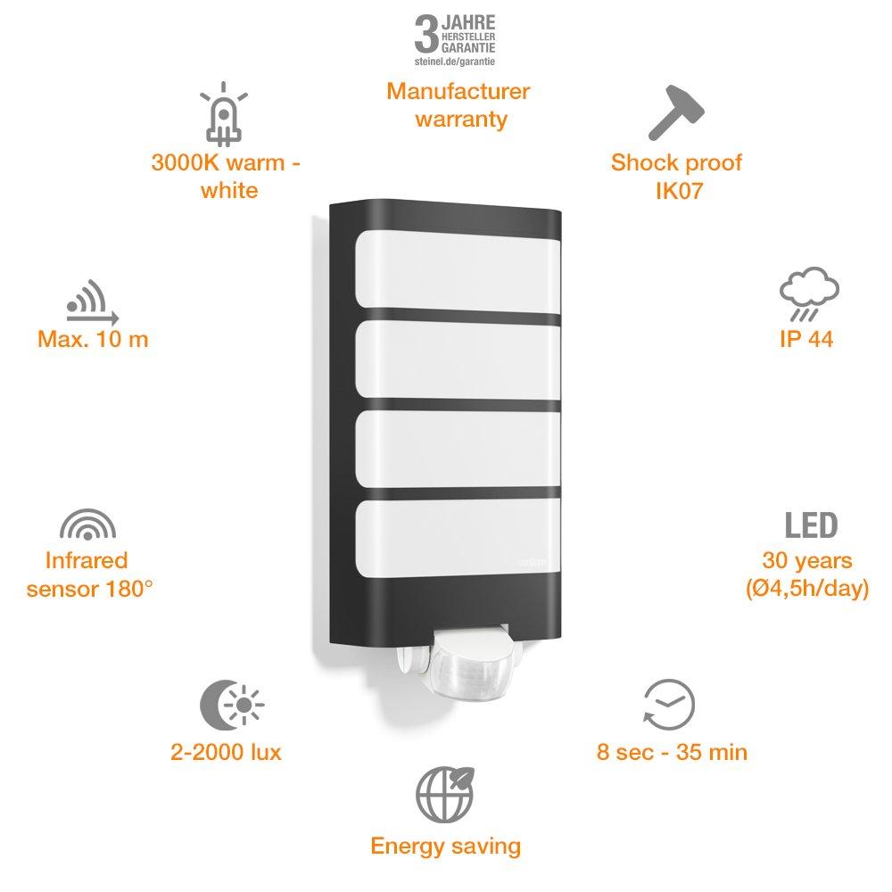 Steinel Lámpara de Exterior L 244 LED Antracita Detector Movimiento Iluminación: Amazon.es: Iluminación