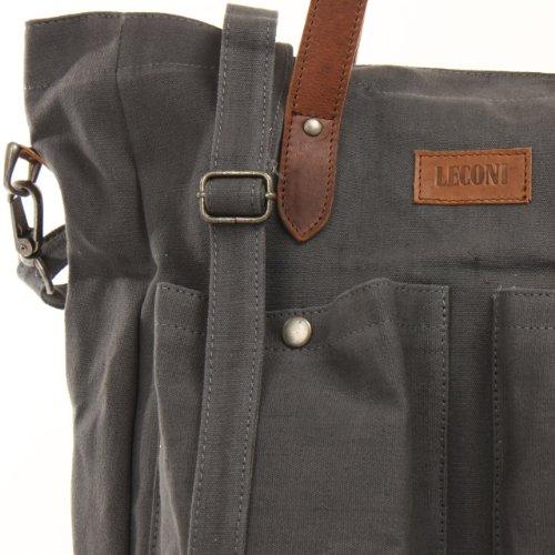 Leconi - Bolso de asas para hombre gris - grau / braun