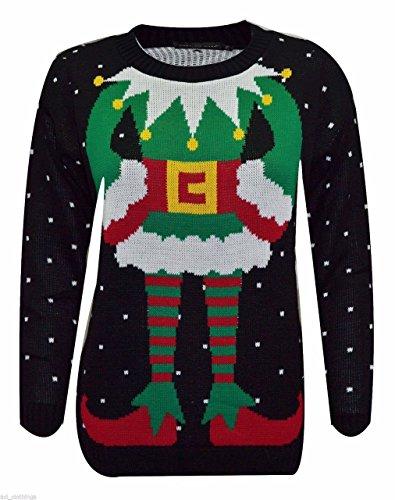 neige HOMMES NEUF no FEMMES flocon l Joker tricot Elf l Black et Rennes rouge No de UNISEXE haut 0qdPFExq