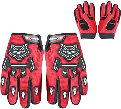 7cm Ni/ño Rojo Leopard Guantes de Motocross para Ni/ños Bicicleta Moto ATV Patio Guantes de Protecci/ón