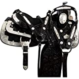 ME ENTERPRISES, Silver Genuine Cowhide Leather Western Pleasure Show Horse Saddles Tack, Size 14″ to 18″ Inches Seat Available, Free Matching Headstall, Breast Collar, Reins