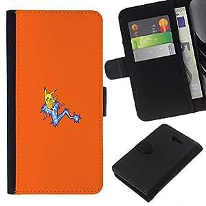 YiPhone /// Tirón de la caja Cartera de cuero con ranuras para tarjetas - Meter Monster Amarillo - Sony Xperia M2